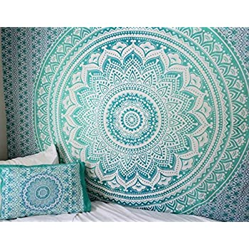 amazon   turquoise green ombre tapestry hippie wall