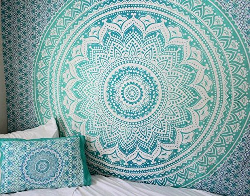Exclusive Twin Green Ombre Tapestry by JaipurHandloom Ombre Bedding, Mandala Tapestry, Multi Color Indian Mandala Wall Art Hippie Wall Hanging Bohemian Bedspread