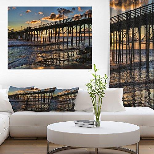 Design Art Pacific Ocean Sunset Oceanside Pier Modern Seascape Canvas ()