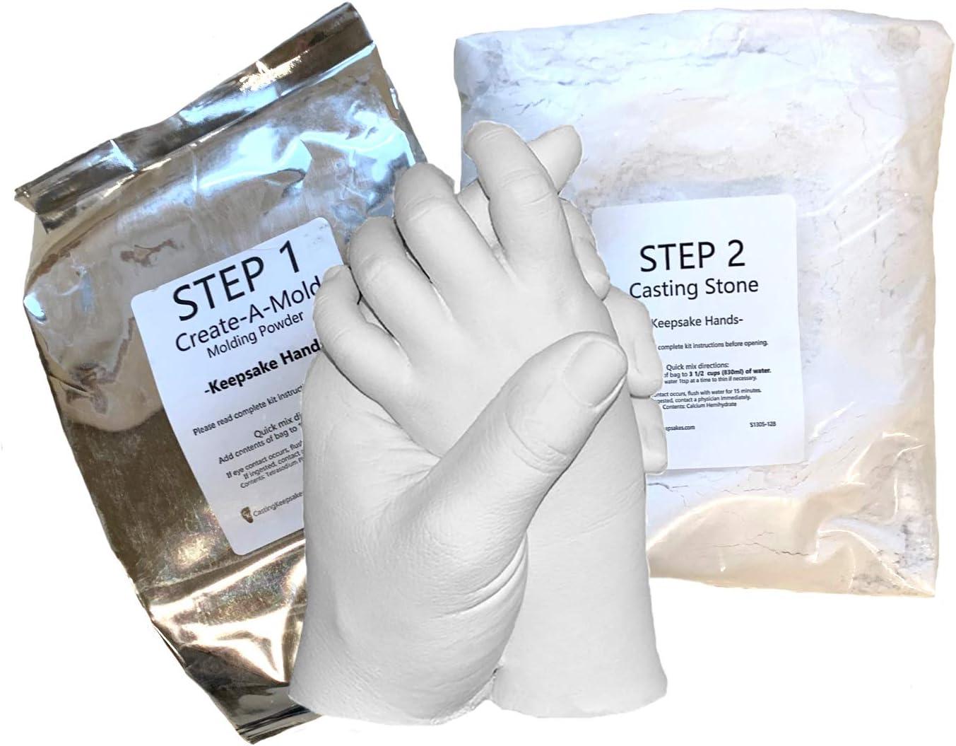 Luna Bean LARGE KEEPSAKE HANDS Plaster Statue COUPLES Molding /& Casting Kit...