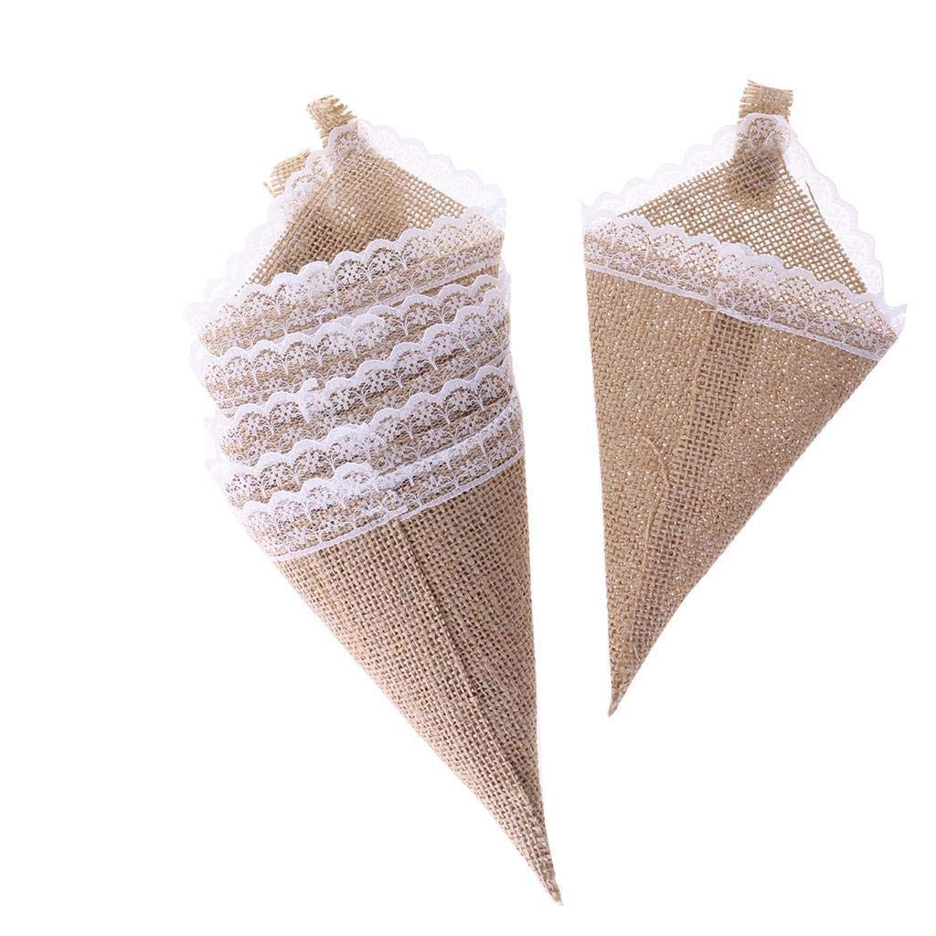 Agordo 12pcs Hanging Burlap Lace Flower Basket Pew Cone Wedding Home Decoration DIY