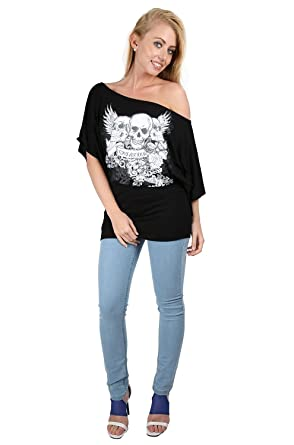 009b5c4a Oops Outlet Womens Off One Shoulder Skull Bardot Batwing Sleeve T Shirt Top  S/M