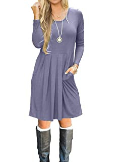 abf1fae74e1 Simier Fariry Women Long Sleeve Pockets Pleated Loose Swing Casual Short T  Shirt Dress