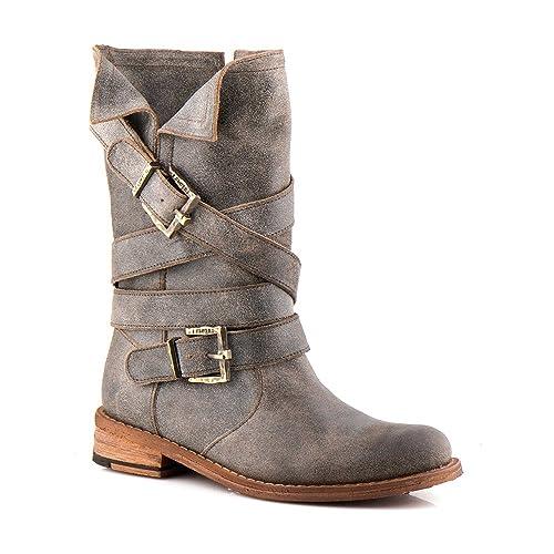 Felmini - Zapatos para Mujer - Enamorarse com Gredo 8562 - Botas Altas  Cowboy   Biker - Cuero Genuino - Multicolore - 40 EU Size  Amazon.es   Zapatos y ... 40536930f7340
