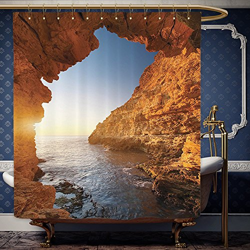 Wanranhome Custom-made shower curtain Seaside Decor Set Sunset in Pacific Paradise Ocean Cave with Morning Light Horizon Stone Calm Seacoast Art Cream Blue For Bathroom Decoration 69 x 72 inches