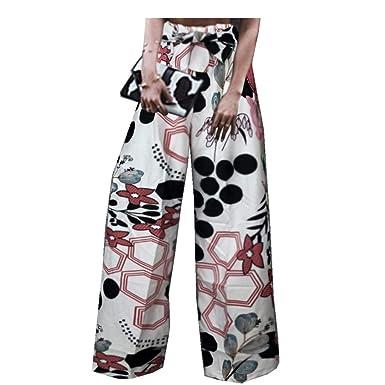8a94527cb9281 Leggings Loose Florale Mode Pantalon Ample Femme RéTro Pants Jambes Larges  Chic SANFASHION(Blanc Élégante