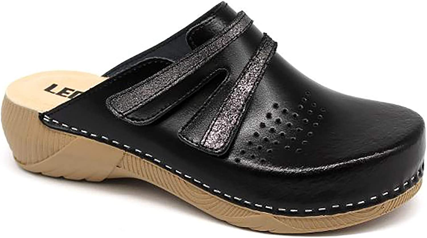 LEON 3200 Leather Slip-on Womens Ladies Mule Clogs Slippers Shoes