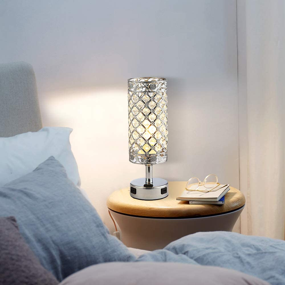 Office. 3-Way Dimmable Bedside Table Lamps with 2 USB Charging Ports and AC Outlet Deamakk Touch Control Crystal Table Lamp Bulb Included Modern Nightstand Lamp with Crystal Shade for Bedroom