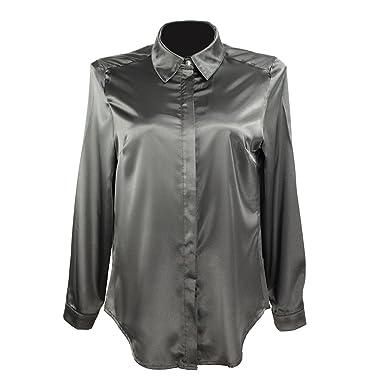 cd9d3373b YOUMU Women Satin Silk Long Sleeve Button-Down Shirt Formal Work Silky  Blouse Top Black
