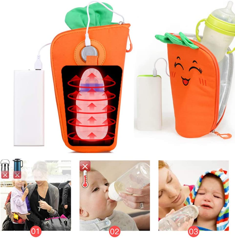 Used in Home Outside and in Car USB Charging Heating Travel Milk Warmer Bag to Maintain Ideal Temperature for Baby Milk Portable Baby Bottle Warmer
