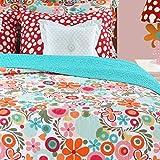 8 Piece Girls Floral Quilt Set Full, All Over Adorable Flower Pattern, High Class Garden Design Printed Themed, Ruffled, Dots Modern Reversible Bedding, Sky Blue, Light Red, Orange, Multi Color