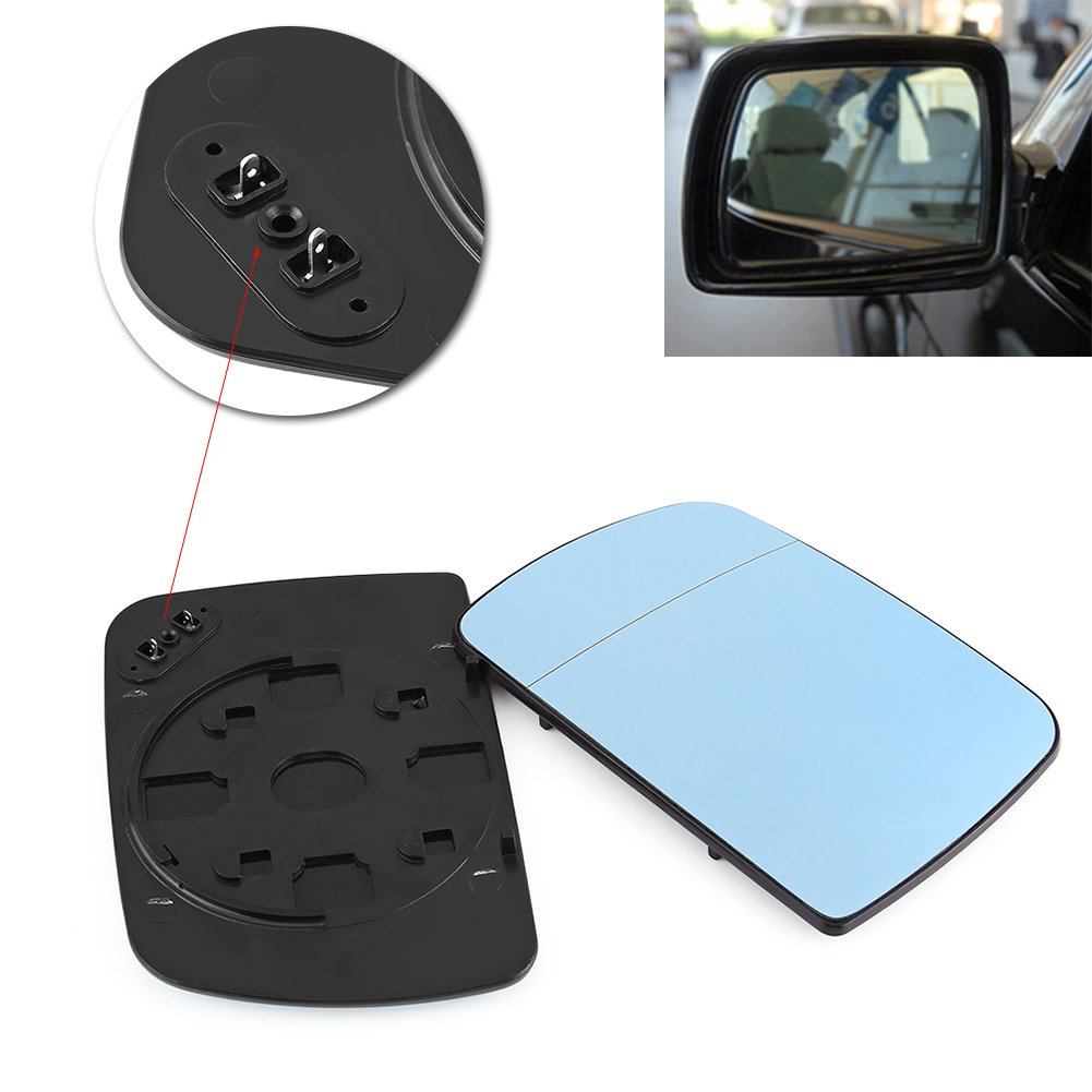 Qiilu QL01717 Car Anti Blind Left /& Right Door Wing Rearview Mirror Glass Heated for BMW X5 E53 1998-2006