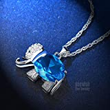 Womens and Girls Pendant Necklace Jewelry Blue