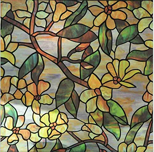 Robert Window sticker Glass Window Film Leaf Flower Bamboo Grape Magnolia Orchid Cobblestone Static Cling Film Stained Glass Window Stickers,90x200cm(35.4〃x78.7〃)