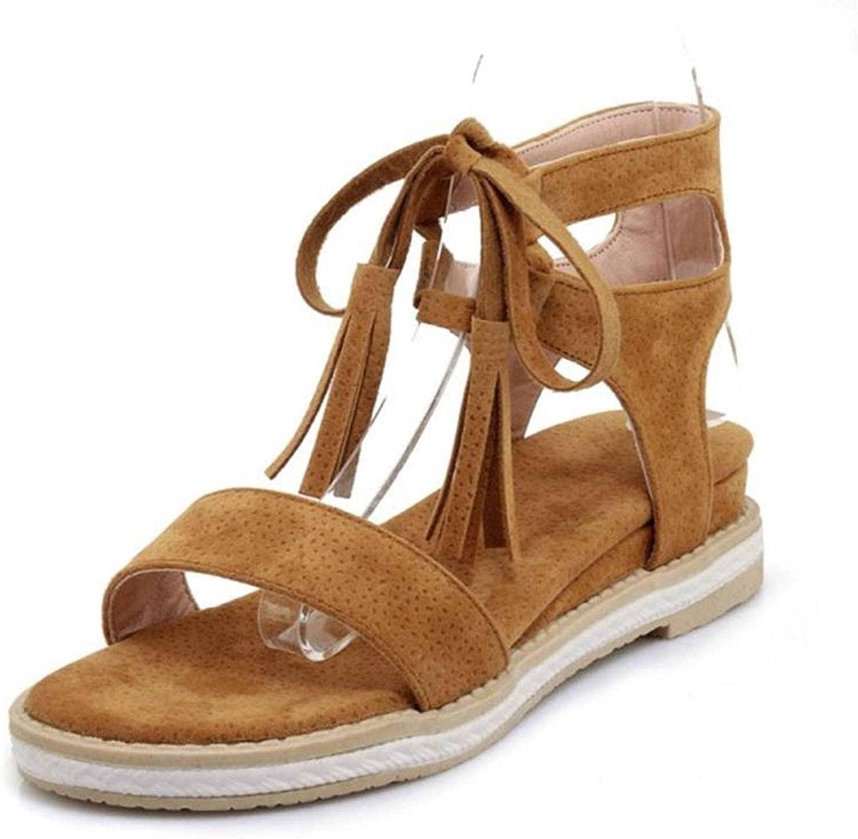 Vintage Women Summer Flats Sandals Cross Strap Tassel Open Toe Flats Sandals
