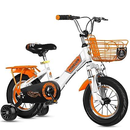 Bicicleta con 2 Ruedas Auxiliares Y Frenos Delanteros Y Traseros Bici para NiñOs,Orange,
