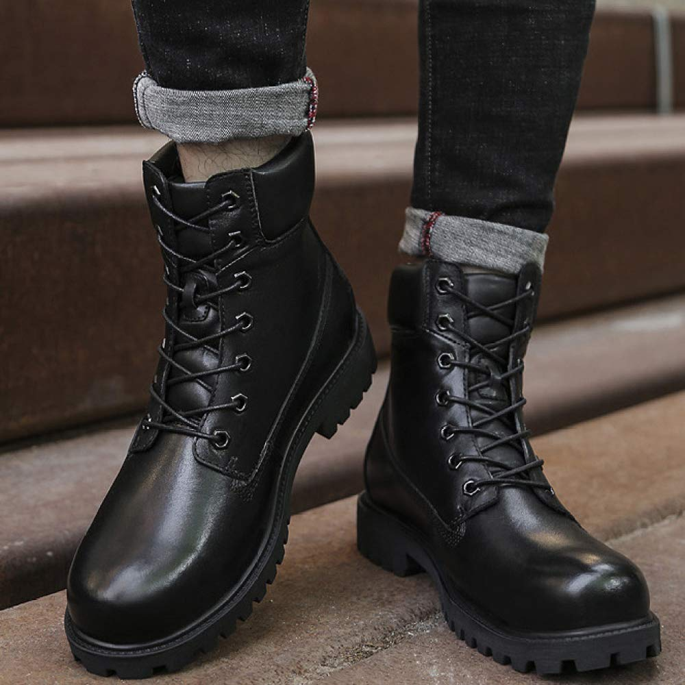 DSFGHE Mens Martin Boots Leather Chukka Boots High-Top Non-Slip Shoes Snow Boots Work Boots Lace-up Shoes