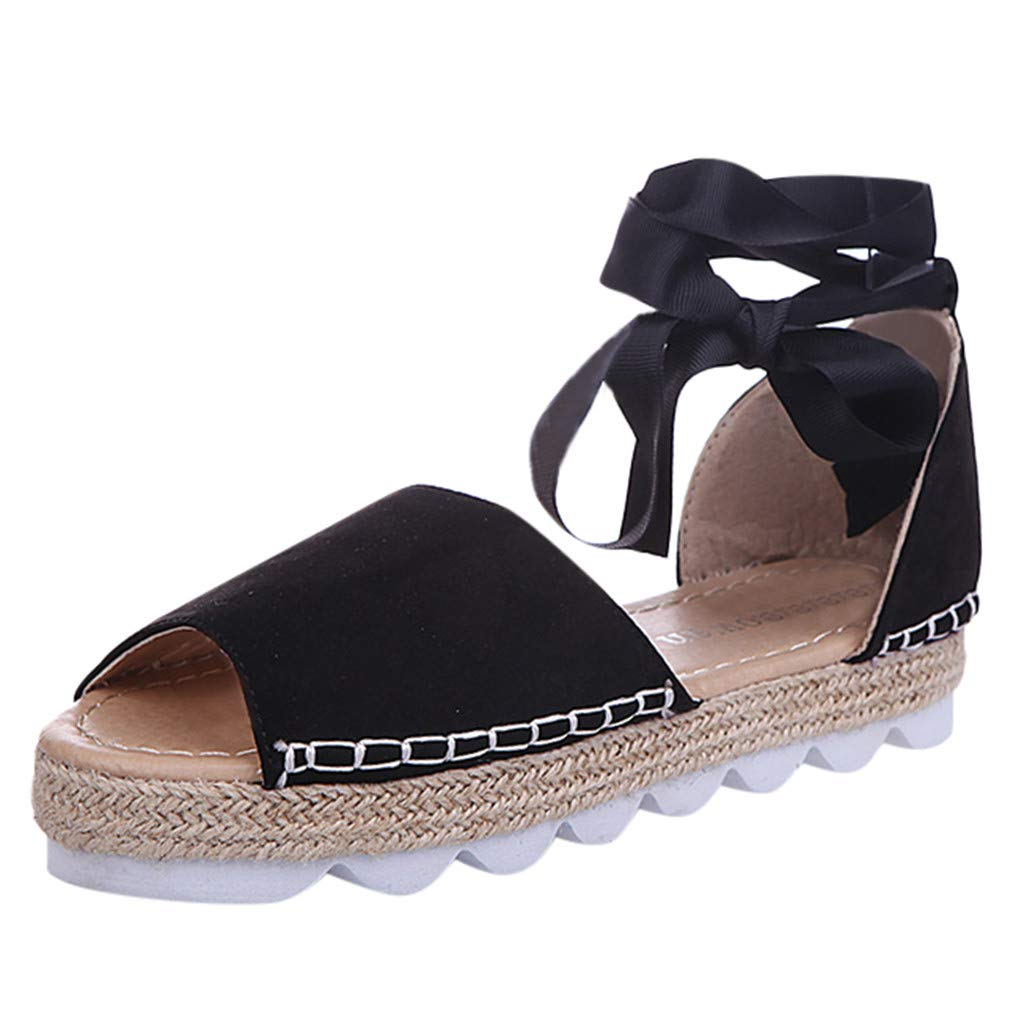 ℱLOVESOOℱ Flock Sandals for Women, Thick Bottom Cross Tied Flatform Sandals Fashion Ankle Strap Open Toe Sandals Shoes Black by ℱLOVESOOℱ