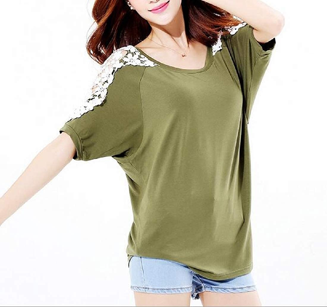 Joe Wenko Womens Hipster Batwing Sleeve Hollow Out Top Plus Size T-Shirts