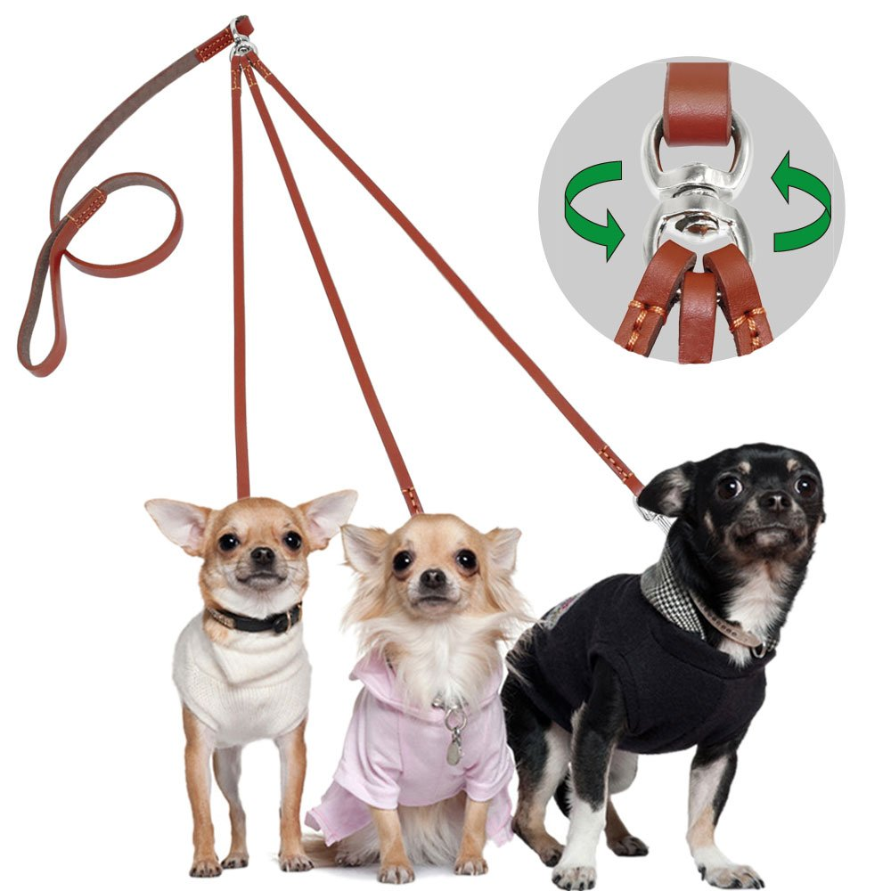 PET ARTIST No Tangle Dog Leash 3 Way Leather Leash Coupler Leash-Tangle Free Dog Splitter-Brown 4.2 feet Length-Fit Puppy Medium Small Dog Daily Walking for Three Dogs by PET ARTIST