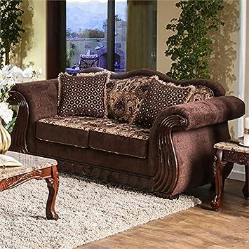 Amazon.com: Furniture of America Sora Chenille Loveseat in ...