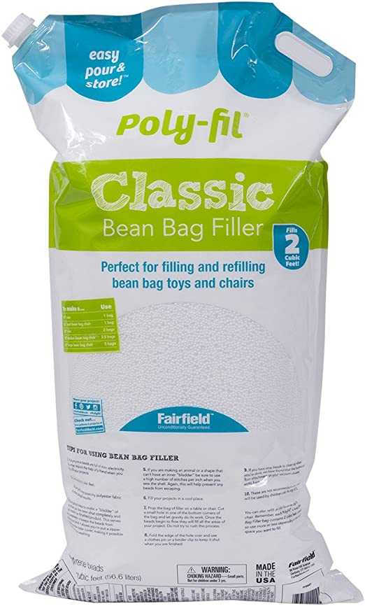 1 Cubic Foot Box of Bean Bag Filler Beans White For Bean Bags-Crafts-Dolls