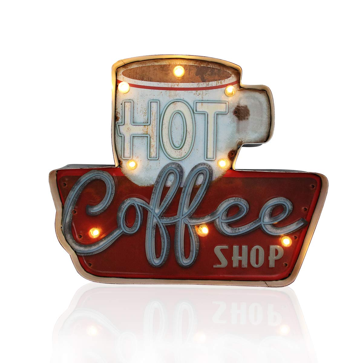 Vintage Handmade Metal Marquee Embossed Tin Decor, Industrial Style Light Up Sign, for Home, Bar or Cafe Wall Decor, On/Off Switch (Hot Coffee)