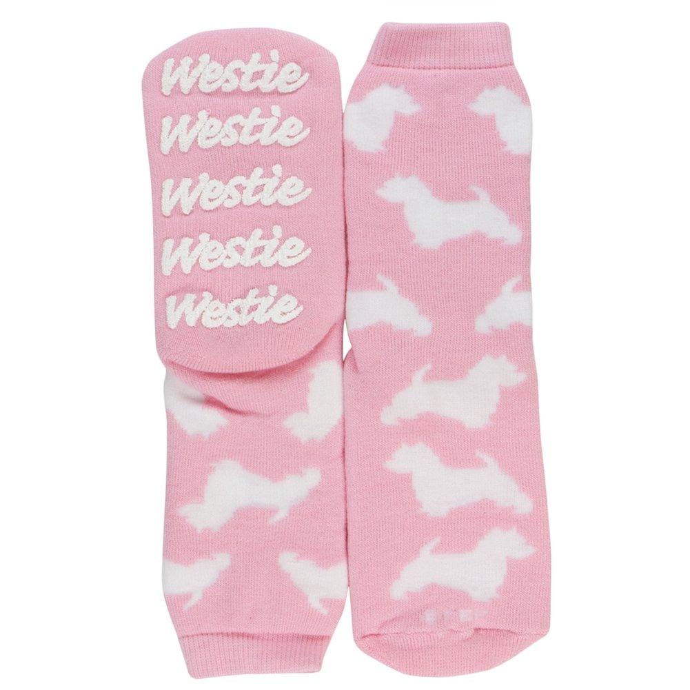Westie Pink Girls Youth Slipper Socks - 9-2