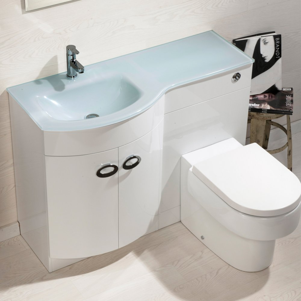 Sink And Toilet Combo Emperor 1100mm White Gloss D Shape Bathroom Combination Furniture