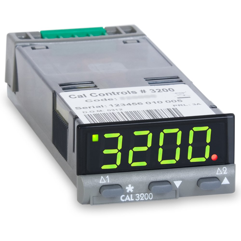CAL Controls 320000 CAL 3200 Series 1/32 DIN  Temperature Controller, 100 to 240 VAC, SSR Driver and Relay Outputs, Green LED by CAL CONTROLS