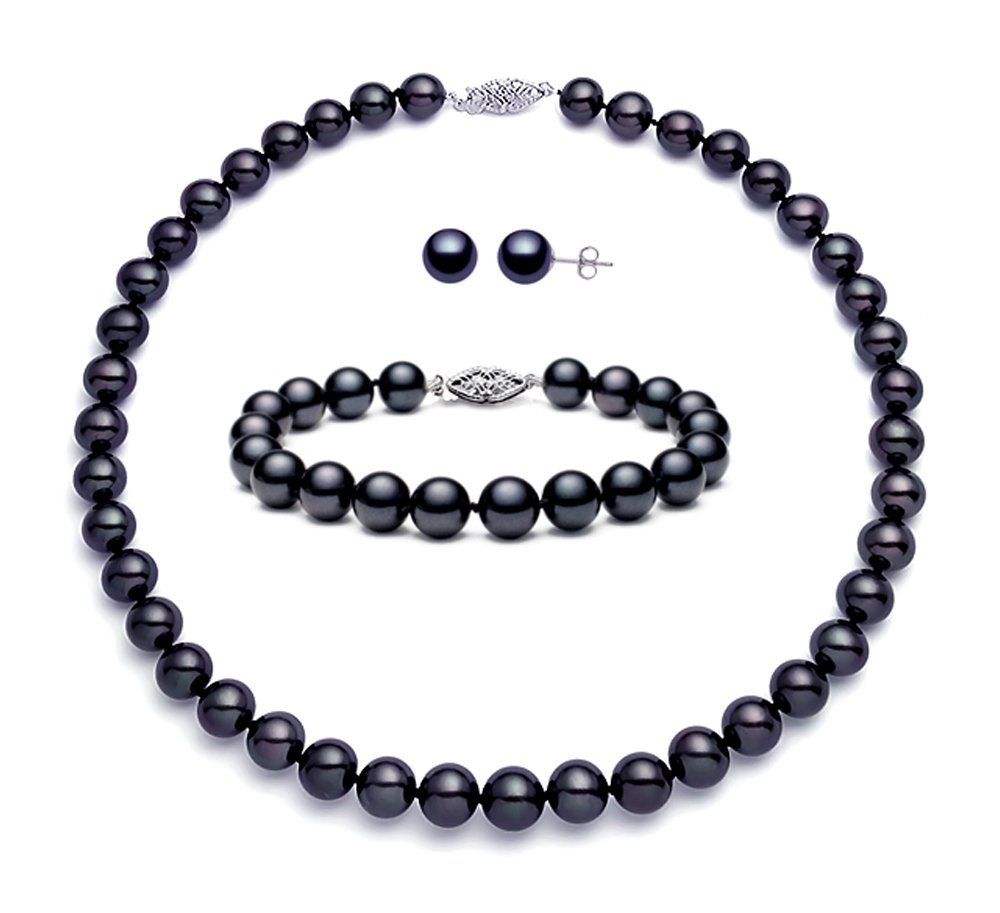 Black Freshwater Cultured Pearl Set AA+ Quality Sterling Silver Clasp (7.5-8mm)