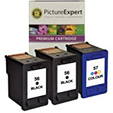 Picture Expert Remanufactured Ink Cartridges. Replacement for HP 56 ( C6656ae ) x 2 & 57 ( C6657ae ) x 1 Black & Colour Ink
