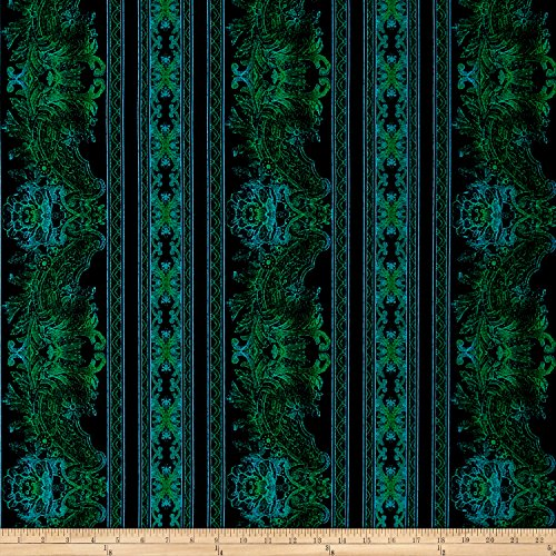 RJR Fashion Fabrics Jinny Beyer Burano Lace Border Turquoise Fabric By The Yard