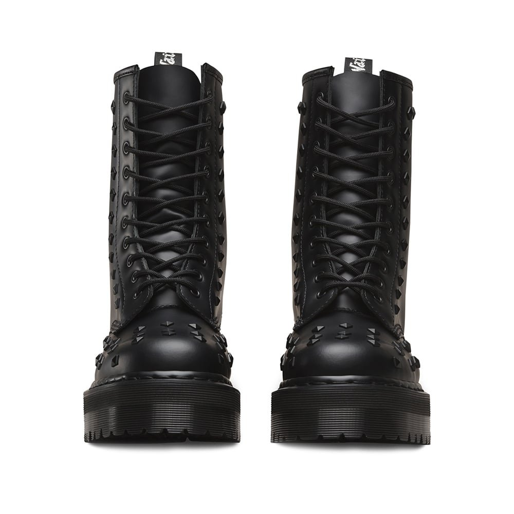Dr up Martens Damen 1490 Stud Leder 10 Augen Lace up Dr Platform Boot Schwarz Black 871d9a