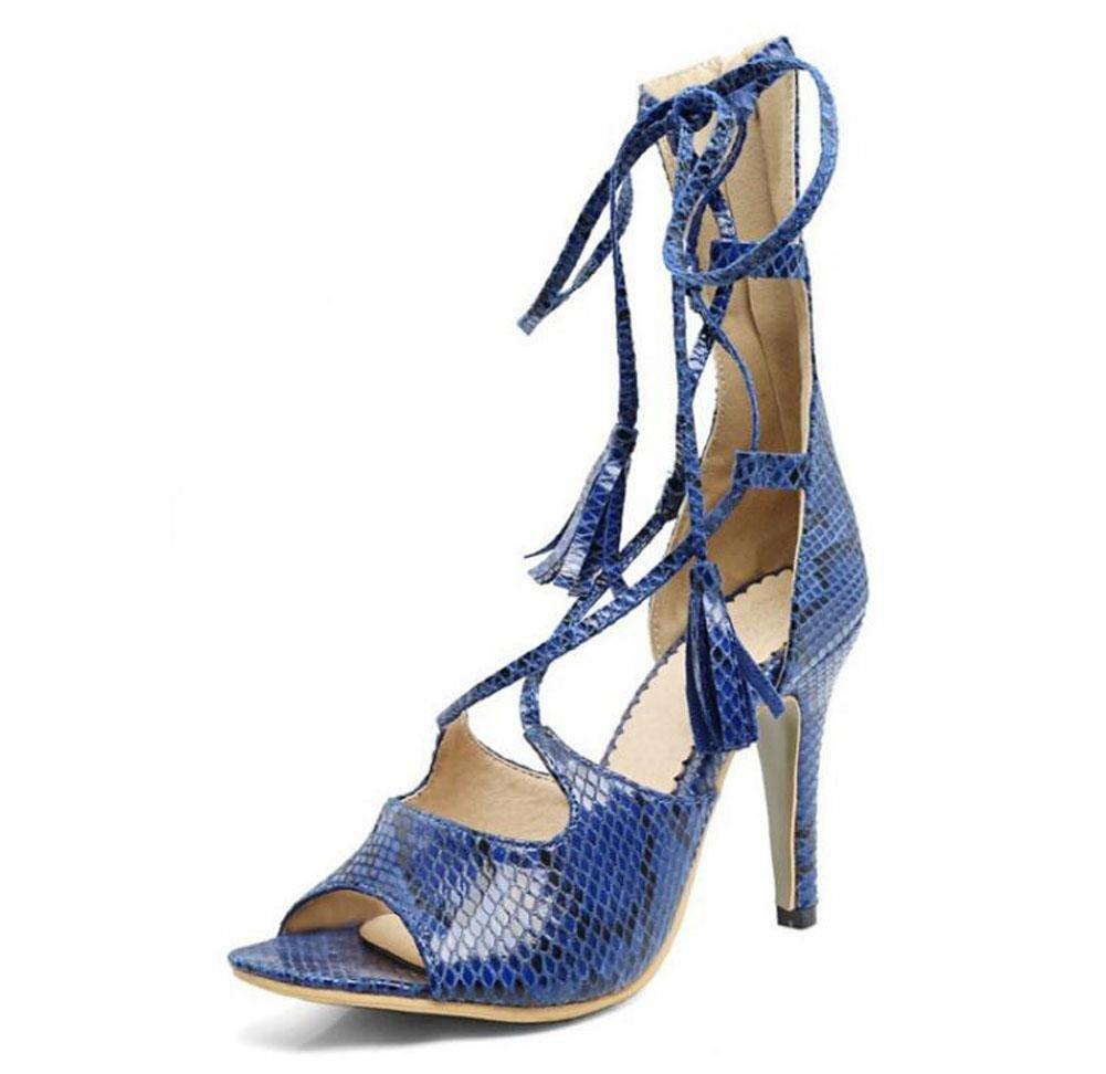 bleu 39 EU Femmes Sandales Serpentine Talons hauts Cool Bottes Peep Toe attaché avec des chaussures de gland
