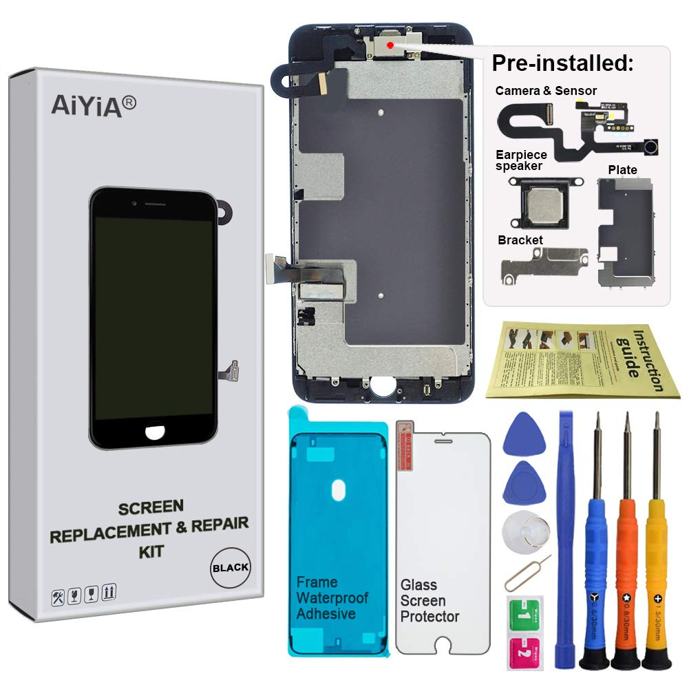 Screen Replacement for iPhone 8 Plus 5.5'' BLACK - LCD Display Touch Digitizer Assembly with Front Camera + Earpiece Speaker + Shield Plate + WaterProof Display Frame Adhesive + Repair Tool Kis (BLACK) by AiYiA