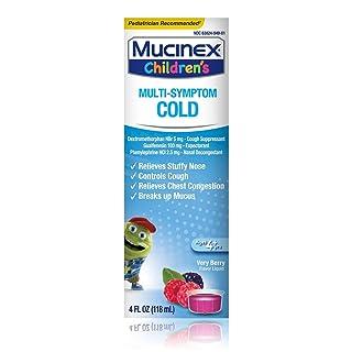 Cough Suppresent, Chest Congestion and Stuffy Nose Relief, Mucinex Children's Multi-Symptom Cold Liquid, 6.8 Fl Oz