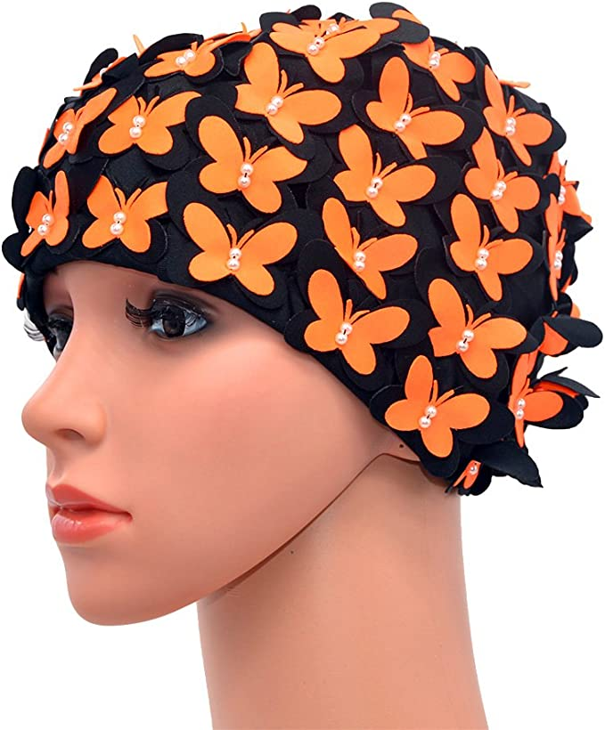 Tea Party Hats – Victorian to 1950s Medifier Vintage Swim Cap Floral Petal Retro Style Bathing Caps for Women $12.89 AT vintagedancer.com