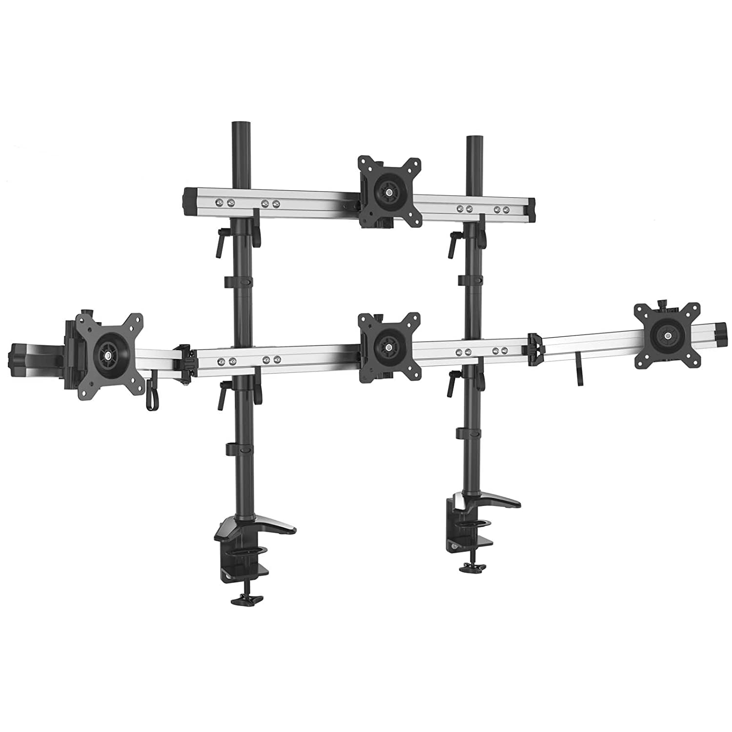 HFTEK Triple 3 Monitor desk mount stand holder bracket control center for screen monitor 15 to 27 inches with VESA 75/100 (MP230C-L)