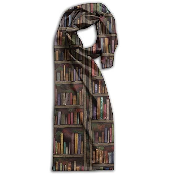 Vintage Library Bookshelf Bookcase Wrap Scarves Smooth Comfortable Gift