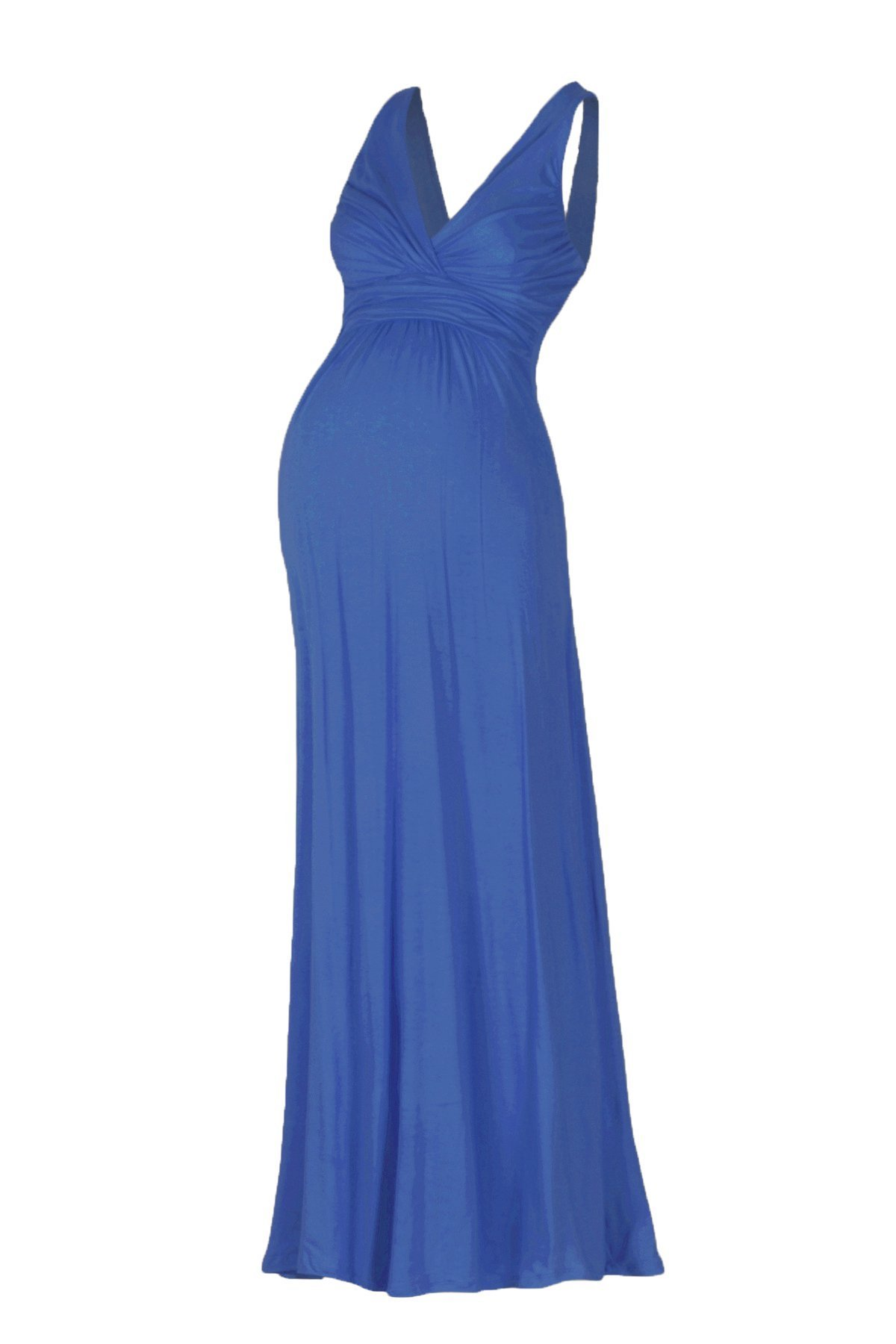 Beachcoco Women's Maternity Sleeveless V Neck Maxi Dress (S, Royal Blue)