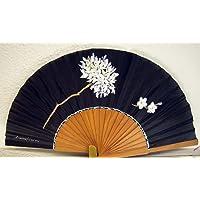 """Abanico de seda natural pintado y montado a mano con la flor malagueña""""Biznaga sobre negro"""""""