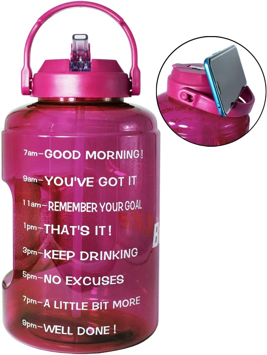 BuildLife 1 Gallon Water Bottle with Straw & Motivational Time Marker Large BPA Free Wide Mouth with Handle Reusable Leakproof to Drink More Water Daily