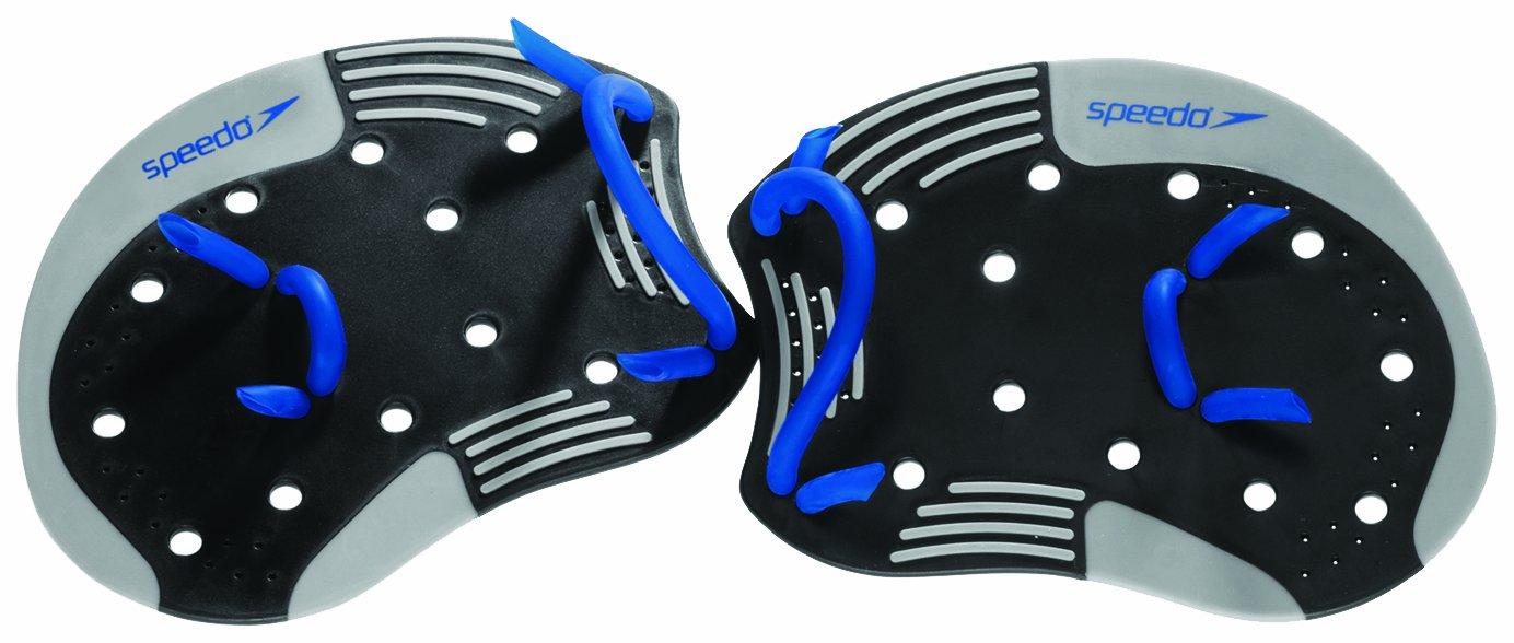Speedo I.M. Tech Training Swim Paddles, Black/Blue, Small/Medium 7530365