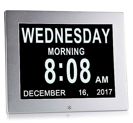 Dementia calendario Digital/reloj con caracteres día y mes