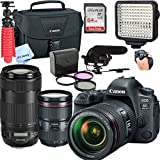 Canon 6D Mark II DSLR Camera with EF 24-105mm + EF-70-300mm USM Lenses,Led Video Light,Shotgun MIC, 64GB Sandisk Class 10 Memory-WiFi Enabled