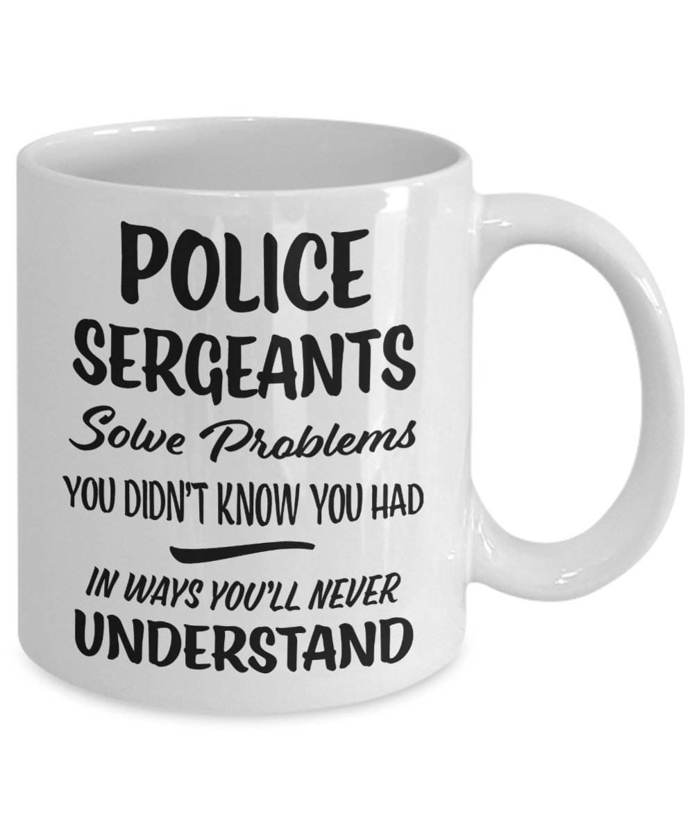 Thank you Appreciation Tea Cup Gift Funny Coffee Cup 11oz Police Sergeant Mug Novelty Present for Colleague Coworker Gift