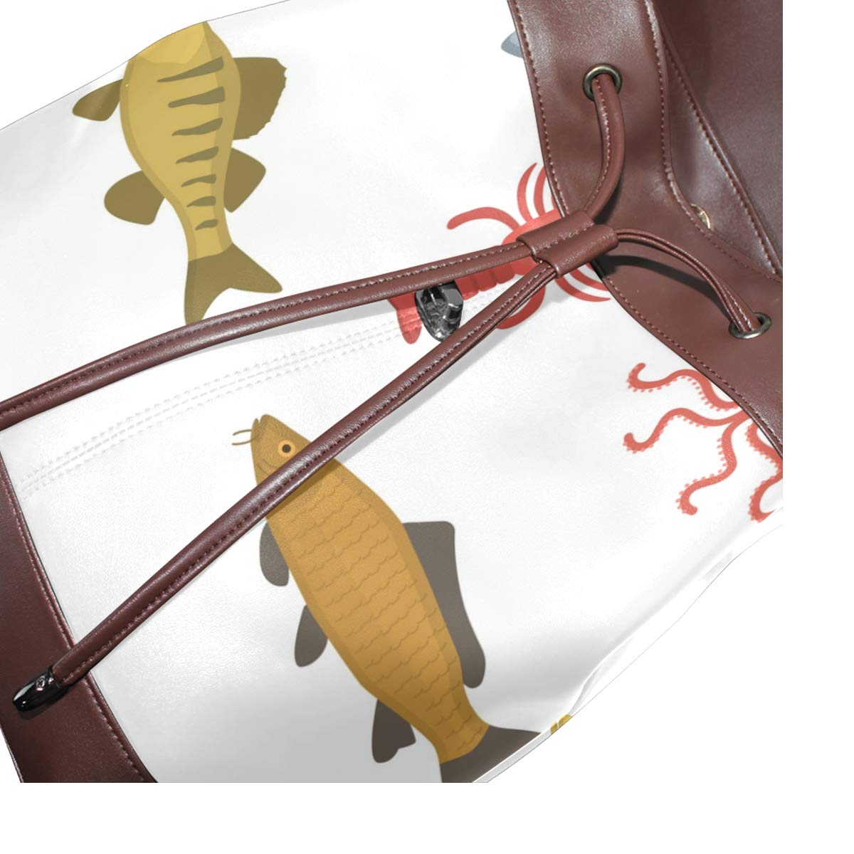 PU Leather Shoulder Bag,Flat Seafood Backpack,Portable Travel School Rucksack,Satchel with Top Handle