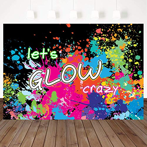 Mehofoto Neon Party Backdrop Let's Glow Splatter Photography Background 7x5ft Vinyl Glowing Party Banner Decoration Neon Paint Splatter Photo Booth Backdrops -