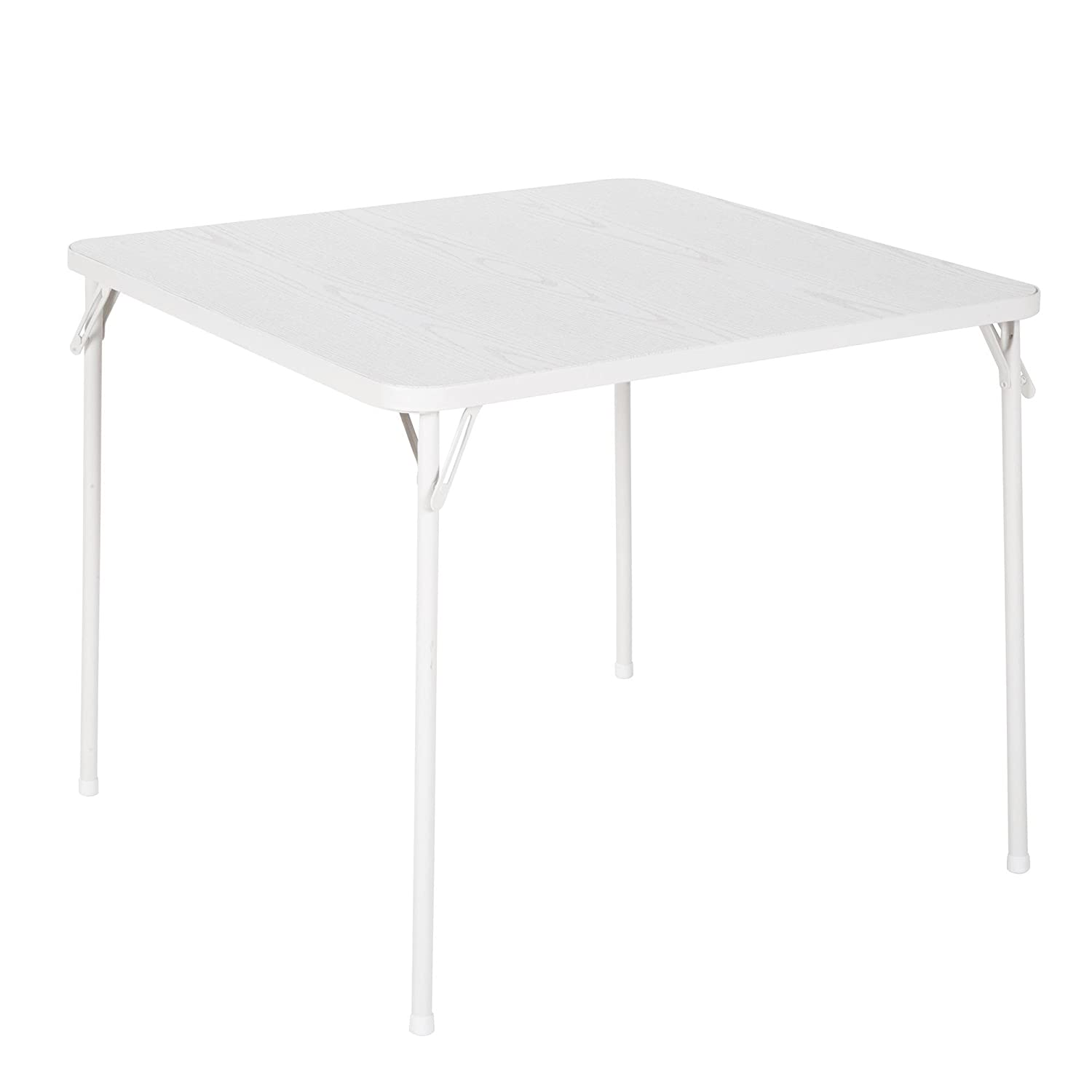 COSCO 34 Square Textured Wood Grain Resin Top Folding Table, Woodgrain White